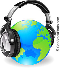 globo, cuffie, musica mondo