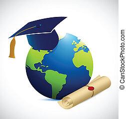 globo, educazione, disegno, illustrazione