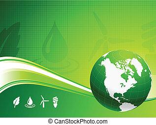 globo, fondo, nautre, verde