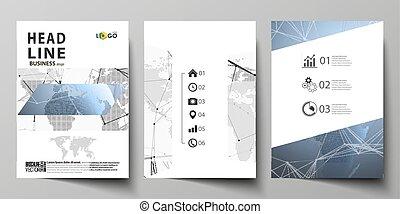 globo globale, coperchi, disegno, disposizione, rete, aviatore, formato, tre, collegamenti, mascherine, moderno, blue., booklet., rivista, editable, illustrazione, a4, mondo, dots., linee, vettore, opuscolo