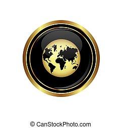 globo, icona, terra, bottone