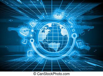 globo, immagine, digitale