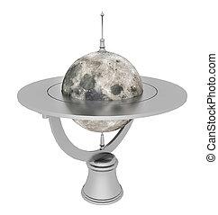 globo, isolato, luna, fondo, tavola, bianco