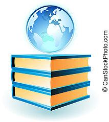 globo, libri, icona