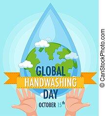 globo, logotipo, mani, globale, lavaggio, mano, goccia acqua, giorno
