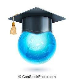 globo mondo, berretto, graduazione, icona