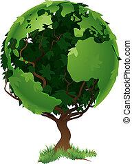 globo mondo, concetto, albero