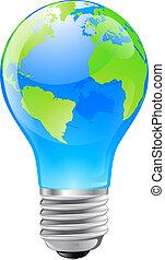 globo mondo, concetto, lampadina