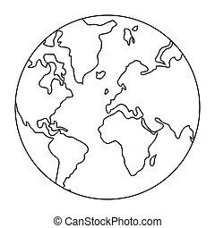 globo mondo, mappa terra, icona