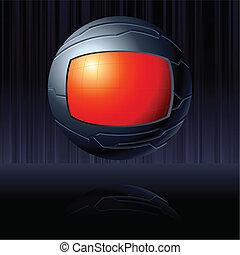 globo, nero rosso, futuristico