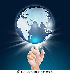 globo, schermo, mano, urgente, tocco, bottone