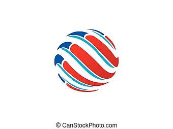 globo, sfera, vettore, turbine, logotipo, tecnologia, astratto