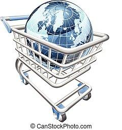 globo, shopping, concetto, carrello