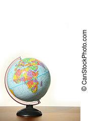 globo, stare in piedi, scrivania