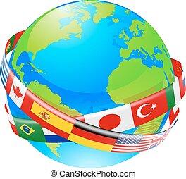 globo, terra, bandiere, countri