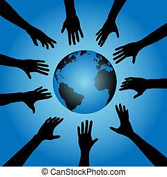 globo terra, mani, portata, persone
