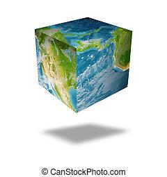 globo terra, quadrato