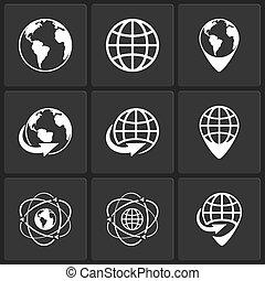 globo terra, vettore, mondo, icone