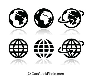 globo terra, vettore, set, icone
