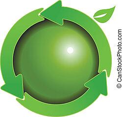 globo verde, frecce