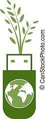 globo verde, tecnologia, usb