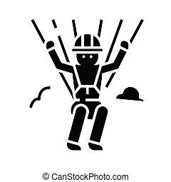 glyph, illustrazione, concetto, icona, vettore, segno., appartamento, nero, paracadutista, simbolo