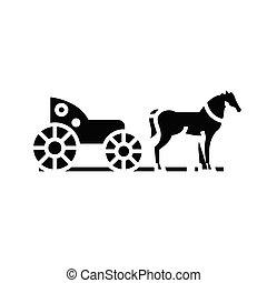 glyph, illustrazione, concetto, icona, vettore, segno., appartamento, nero, phaeton, simbolo