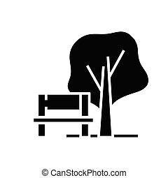 glyph, illustrazione, concetto, icona, vettore, segno., parco, appartamento, nero, simbolo
