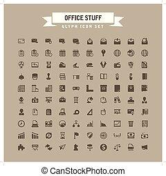 glyph, roba, set, ufficio, icona