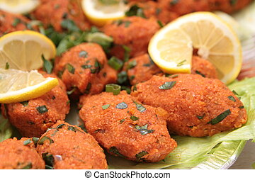 gnocchi, bulgur, ), kofte, cuisine., vegetariano, mercimekli, turco, lenticchia, (