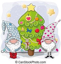 gnomi, albero, natale, carino, due
