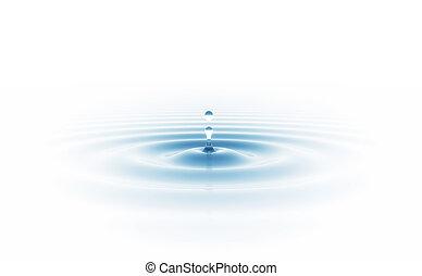 goccia acqua, isolato, bianco