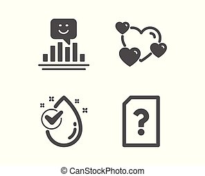 goccia, amore, sorriso, vettore, segno., cuore, sconosciuto, aqua., feedback, file, acqua, positivo, valutazione, pulito, icons.