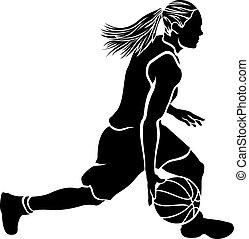 goccia pallacanestro, femmina, sihouette