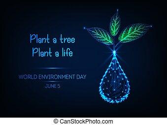 goccia, verde, germoglio, blu, giorno, testo, mondo, ambiente, bandiera, pianta, fondo., scuro, acqua