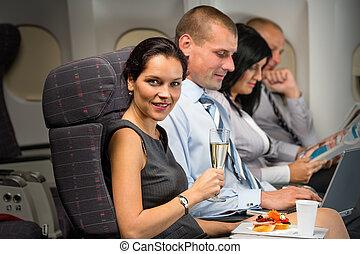 godere, affari donna, viaggiare, rinfresco, aereo
