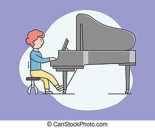 godere, appartamento, concert., talento, ragazza, lineare, lei, pianista, hobby., grande, gioco, cartone animato, donna, pianoforte, composizione, strumenti musicali, concept., vettore, illustrazione, piano., giochi, contorno