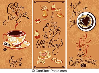 godere, caffè, flayer, cafe., ristorante, testo, momento, fondo, coffeehouse., calligraphic, scritto, progetto serie, sagoma, menu, lei, mano, ecc., o