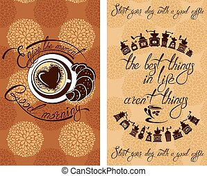 godere, flayer, testo, progetto serie, mattina, tazza, menu, calligraphic, scritto, cafe., caffè, buono, sagoma, mano, fondo, momento, ristorante, croissant, coffeehouse., ecc., o