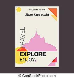 godere, monte, michel, manifesto, viaggiare, benvenuto, francia, saint-, sagoma, esplorare