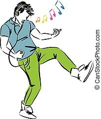 godere, musica, uomo, cuffie