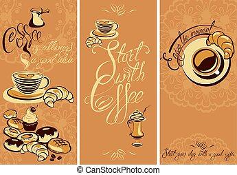 godere, o, flayer, cafe., ristorante, testo, momento, buono, fondo, coffeehouse., calligraphic, inizio, scritto, progetto serie, sagoma, menu, mano, tuo, giorno, coffee.