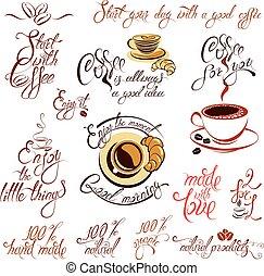 godere, schizzo, set, testo, simboli, caffè, design., campanelle, amore, calligraphic, inizio, disegnato, caffè, elementi, icone, mano, stilizzato, momento, fatto, ristorante, caffè, menu, ecc., o