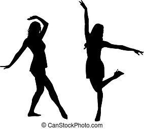godere, silhouette, donne