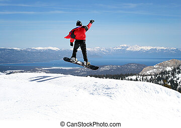 godere, snowboarder, vista