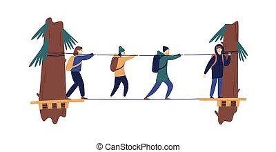 godere, turista, albero, lungo, attivo, vettore, sospensione, attività esterne, donna, zaino, isolato, illustration., campeggiare, ponte, gruppo, bridgework, corda, camminare, appartamento, uomo, città, fra, white.