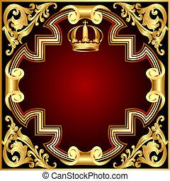 gold(en), modello, corona, vignette, illustrazione, fondo, invito
