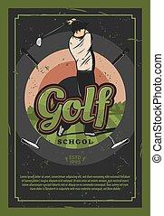 golf, campo, manifesto, giocatore, gioco, retro, sport