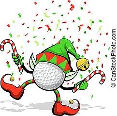 golf, elfo, natale