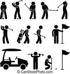 golf, golfista, caddy, altalena, persone